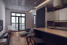 48m² studio apartment / Loft style / AutoCAD / 3ds MAX