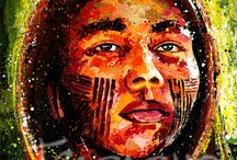 The Kayapo, Guardians of the Forest (2014) / A series of 10 Paintings of the Kayapo People, the indigenous people of Brazil. Inspired by an article about them in National Geographic. I love the wisdom and innocence in their faces, the colorful paints they use and I am touched by the story behind their struggle. I will be exhibiting 10 paintings 13th Nov 2014 Toronto, Canada. I will donate 50% of the profits from each sale of this series to help The Kayapo People.
