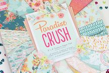First Edition Paradise Crush / Give your crafts a taste of the tropical with First Edition, Paradise Crush. Designer Louise Tiler has illustrated the paper designs with a flourish of flamingos, butterflies and florals amidst a vibrant colour palette of juicy pinks to inviting blues.  These fabulous papers will be available soon!