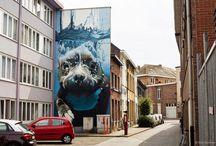 Mural - dog diving