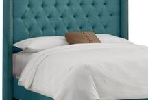 bedroom / teal linen headboard