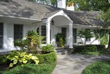 """Home Exteriors / Front Door paint color is """"Seaside Retreat Shaded Cove (SR911) by Valspar""""."""