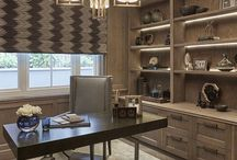 Den | Window Treatment Inspiration / Inspirations to help with selecting window treatments for the study or home offices. Whether it be drapes, sheers, pelmet boxes, valances, roller or roman blinds.