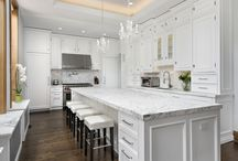 A Renovated Kitchen in a Victorian Mansion in Chicago. / A renovated kitchen in a Victorian mansion with traditional detailing and modern design in Chicago, IL.