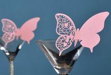 marque place papillon rose,etiquette rose,porte noms rose,mariage