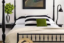 Guest Room- black and white with hints of green