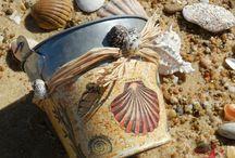 Bord de Mer / Tableaux home déco sur le thème de la mer ; objets décorés ; patines ; récup ; photos...