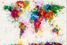 Art / World map / watercolor
