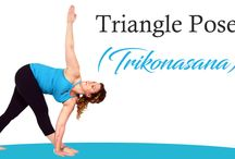 Triangle Pose (Trikonasana) / How to do the Triangle Pose (Trikonasana) Stand straight. Separate your feet comfortably wide apart (about 31/2 to 4 ft). Turn your right foot out 90 degrees and left foot in by 15 degrees. Now align your center of right heel with the center of your arch of left foot.
