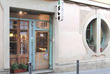 cafés, shops