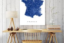 A Map in the Office / Home office or corporate office? Or both? We have map art prints for all that!