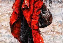 piros kalapban kabátban nő késes