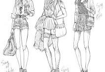 Szkice modowe / moda, szkice, fashion, sketches