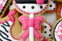Pink Black White - Girl theme cookies