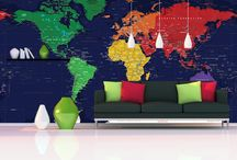 Map Murals / Wallpaper Maps / Maps that cover entire wall spaces / by World Maps Online