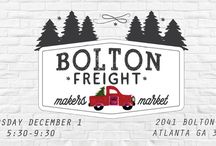 Bolton Freight's 2016 Makers Market, Atlanta, GA / Thursday, December 1 at 5:30 PM - 9:30 PM 2041 Bolton Rd NW, Atlanta, GA 30318 __ Annual Makers Market for Holiday Gifts in Atlanta, Georgia. Handmade Holiday Goodness! Jewerly, Art, Pottery, Stationery, Holiday Decorations Knitted Crafts....Find handmade gifts by local artisans while socializing around the fire pit! Refreshments provided.