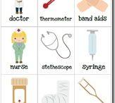 Téma - lékaři, nemocnice, sanitky