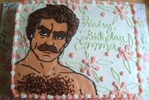 """Tom Selleck Cakes / Two basic designs. The overuse of """"Hairy Birthday"""". No Jesse Stone variation. Thank you Internet. And happy birthday to Pierce."""