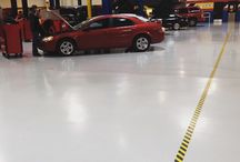 Automotive Service Shop Floor Marking Ideas / Showcasing various ways to mark the floors of auto shops to increase safety, organization, and efficiency. These could apply to dealership service centers, body shops, mechanic shops, and other similar facilities.