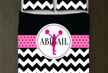 Cheer Rooms for Girls / Cheerleading themed bedrooms for girls and teens.  Duvet cover bedding sets, throw pillows, wall art prints, gallery wrapped canvases, shower curtains.