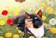 Chats de Lesley Anne Ivory / Lesley Anne Ivory, née à Luton au Royaume Uni en 1934, Lesley Anne Ivory est une artiste peintre spécialisée dans le thème du chat, qu'elle illustre sur des tapis, des mosaïques et des patchworks. http://www.ceaco.com/