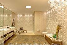 Banheiros Modernos e Sofisticados! / Veja + Inspirações e Dicas de decoração no blog!  www.construindominhacasaclean.com