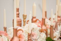 Wedding Colours: Rose Quartz (2016 Pantone Colour of the Year) / This warm, pink rose gold is both flirty and elegant, and it's on-trend metallic shimmer adds dazzle to wedding decor!