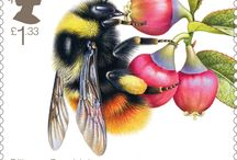 Bees Stamps / Bumblebees, Honeybees and solitary bee species are the unsung heroes of Britain's ecology: pollinating our food crops, keeping farms in business and enabling our parks, gardens and countryside to thrive. / by Post Office