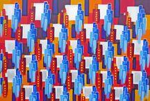 """Exhibition """"SUE HALL"""" / A artista britânica Sue Hall  busca inspiração na verticalização das cidades, nas suas luzes, no grafismo caótico e suas inter-relações. Sue brinca com a memória urbana e a profusão de linhas e traços que percorrem os prédios, um após o outro. Estruturas lineares e retilíneas compõem uma multiplicidade de mensagens na paisagem urbana e acabam por desencadear o desenvolvimento de um pensamento abstracto (José Roberto Moreira, curador e galerista)."""