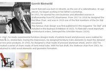 Bauhaus Designer - Gerrit Rietveld / Gerrit Rietveld wurde in Utrecht als Sohn eines Möbelschreiners geboren. Mit elf Jahren begann er, in der Werkstatt seines Vaters zu arbeiten. 1911 machte er sich als Schreiner selbständig und besuchte Kurse in Bauzeichnen bei P.J.C. Klaarhamer.  ◥◣◥◣◥◣Gerrit Rietveld was born in Utrecht, as the son of a cabinetmaker. At age eleven, he began working in his father's workshop.  In 1911, he opened his own business and attended courses in draftsmanship from PJC Klaarhamer.