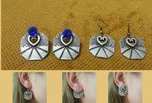 Silver stud earrings, long stud earrings, Greek stud earrings, vintage stud earrings, silver stud earrings, Silver Boho, Gypsy Earrings