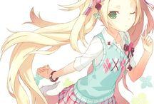 anime girl blond hair