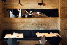 "PROJECT BOUET RESTAURANT / The mix of new and existing materials, combined in a cool and befitting way, achieves that relaxing but classy effect of the ancient cities that now are really trendy. The facets that we find in the mirrors, the lights and the furniture – chairs, tables and barstools "" Faz collection""-produce images, reflections and give  space an exclusive and elegant design."