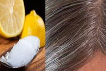Coconut  oil  & 3 teaspoons lemon juice  gray hair back