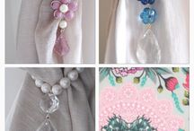 Amanda's room custom order / This is a custom made chandelier for Amanda. She sent me the color reference for her chandelier, having a room with lovely curtains in the tones of pink, aqua blue and ivory.