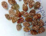 10x14mm Pear Natural Rose Gold Color Coated Druzy Loose Gemstone