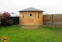 Abri de jardin d'angle / Construction d'un abri de jardin d'angle sur mesure. Charpente traditionnelle. Bardage en pin douglas Toiture en ardoise...