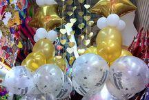 decoracion globos primera comunión dorado