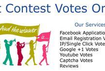 Buy Online Contest Votes / Buy votes for online contest and win any kind Online Contest. We can bring votes in any kind of online contest.  www.getcontestvotesonline.com We offer these service :  Facebook Application Votes Email Registration Votes IP/Single Click Votes Twitter Votes Google +1 votes