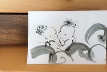 Calligraphie Art / 書道墨でかわいいイラストを描いています。 (c)engyoku