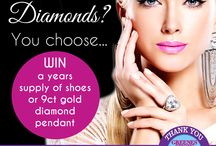Shoes or Diamonds You Choose / Win a years supply of shoes or a diamond pendant in Greenes Shoes 75th anniversary celebration competition greenesshoes.com to choose and enter