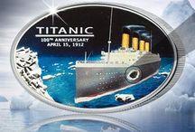 Titanic / Stříbrná mince Titanic. S originálním úlomkem uhlí, který se podařilo zachránit z potopeného vraku lodi.