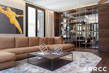 Barcelona Apartment, Spain / The inspiration for this apartment draws from the culturally-vibrant Barcelona life and high-end fashion. The eclectic palette of rich, quality materials adds integrity and authenticity to the space.  Raw wood is mixed with metals, suedes and high-gloss surfaces to create a sensory experience.
