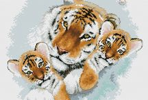 Haft Krzyżykowy - Tygrysy