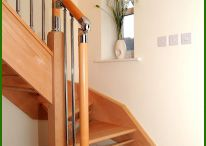 Chrome and Nickel Fusion Staircase / This beautiful open-winder staircase in beech has dowels in place of the more conventional risers. The balustrade is in beech with brushed nickel parts and brushed nickel spindles from our Fusion Chrome and Nickel range.