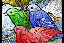 Stain glass birds