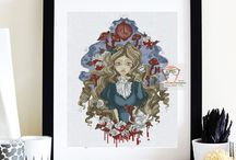 Alice in Wonderland Cross Stitch Modern designs / Any character of Alice in Wonderland cross stitch patterns. Cross stitch the white rabbit or the mad hatter if you like. Or choose Gothic cross stitch style for you alice in wonderland embroidery theme.