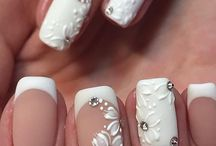 White & French nails