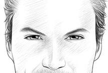 Men's face drawing