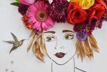 Flower face print & fashionable flower & food illustration